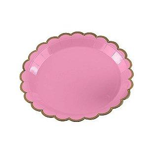 Prato de Papel Rosa Bebe com Borda Dourada