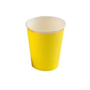 Copo de Papel Amarelo com Borda Dourada