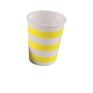 Copo de Papel Listrado Amarelo