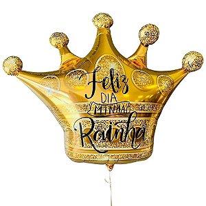 Balão Coroa Gigante Personalizado - Feliz Dia Minha Rainha