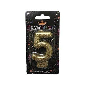 Vela Dourada Glitter Numero 5