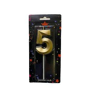 Vela Design Dourada Numero 5