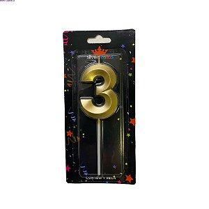 Vela Design Dourada Numero 3