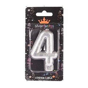 Vela Prateada Glitter Numero 4