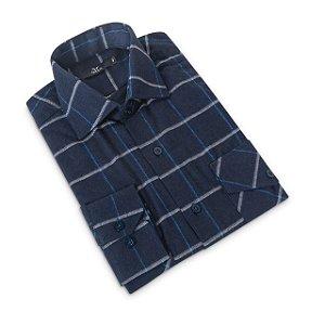 Camisa Flanela Manga Longa Masculina Xadrez Azul escuro