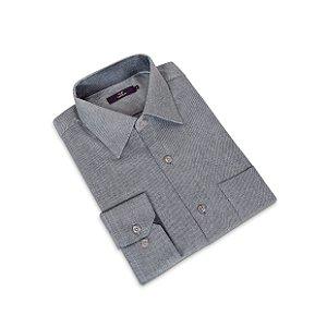 Camisa Regular Masculina Cinza /Colarinho Italiano