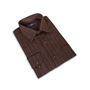 Camisa Regular Masculina Marrom com listras/Colarinho Italiano