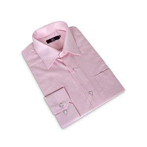 Camisa Regular Masculina Rosa /Colarinho Italiano