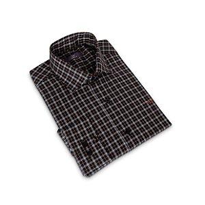 Camisa Regular Masculina Marrom Xadrez/Colarinho Italiano