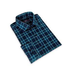 Camisa Regular Masculina Azul Xadrez/Colarinho Italiano