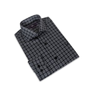 Camisa Slim Masculina Cinza Xadrez/Colarinho Italiano