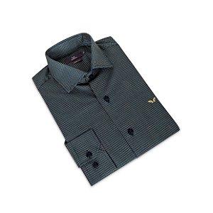 Camisa Slim Masculina Cinza /Colarinho Italiano
