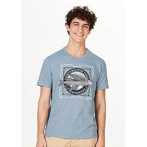 Camiseta Masculina Slim Em Malha Flamê - Azul