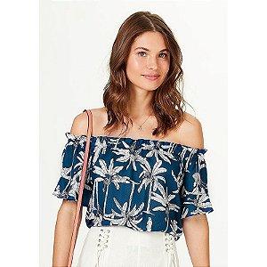 Blusa Feminina Evasê Ombro A Ombro Estampada - Azul