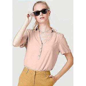 Camisa Básica Feminina Com Fechamento Por Botões - Rosa