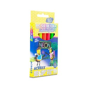 Giz de cera Fantasia Glitter Neon Acrilex 6 cores