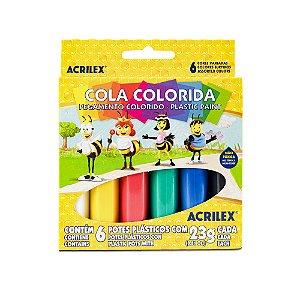 Cola colorida Acrilex 6 cores
