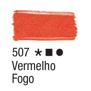 Tinta para tecido 37ml Acrilex 507 Vermelho Fogo
