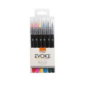 Marcador Brush Pen Aquarelável Evoke Tons Pastéis BRW 6 cores