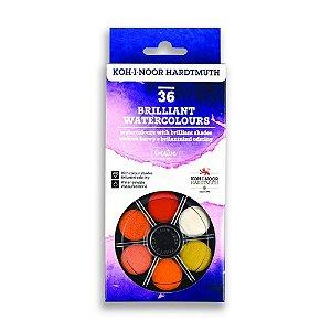 Aquarela em pastilhas Brilliant Koh I Noor 36 cores