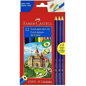 Lapis de cor Faber Castell 12 cores + 3 Ecolapis