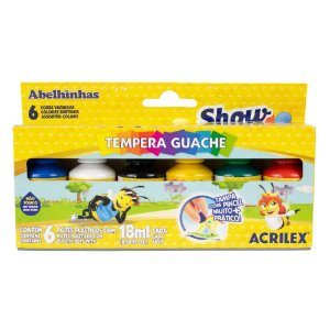 Tinta Tempera Guache Show Color 18ml Acrilex 6 cores
