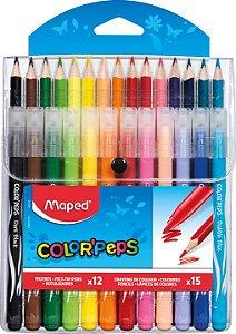 Kit 15 Lápis De Cor + 12 Canetas Hidrográficas Color'peps Maped