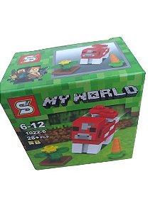 Mini bloco de montar minecraft, 28 peças.  Coleção My World