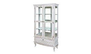 Cristaleira Country com gaveta prateleira de vidro e espelho