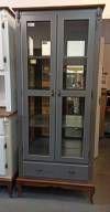 Cristaleira Alta Luiz XV 2 portas 1 gaveta prat de madeira com espelho