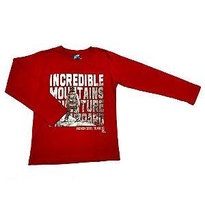 Camiseta Manga Longa com Estampa Snowboard Vermelha - Passagem Secreta
