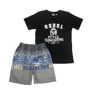 Conjunto Infantil Camiseta e Bermuda Moleton - Passagem Secreta