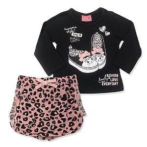 Conjunto Feminino Infantil Blusa Tênis e Shorts Saia Onça Rosa - Momi
