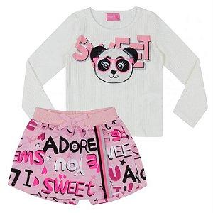 Conjunto Feminino Infantil Blusa  Panda e Shorts Saia Colorido - Momi