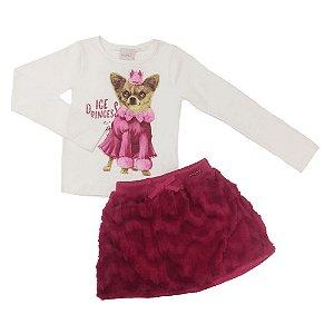 Conjunto Blusa Dog e Saia Pink - Momi