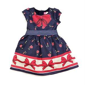 Vestido Infantil Marinho Laço Flores - Momi