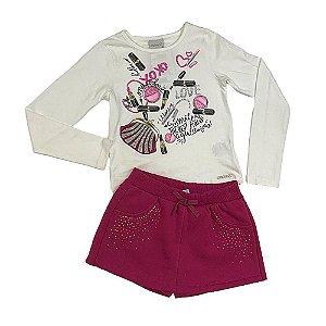 Conjunto Menina Blusa Maquiagem e Shorts Saia Off White - Momi
