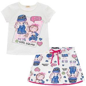 Conjunto Blusa e Saia Shorts Menina - Kukiê
