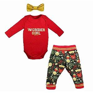 Conjunto Infantil Feminino 3 Peças Body Vermelho Calça Estampada e Faixa - Grow Up