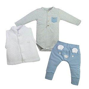 Conjunto Infantil Masculino Body e Colete e Calça Urso Azul - Grow Up