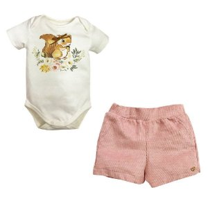 Conjunto Infantil Feminino 3 Peças Jardim Casaco Shorts Body Esquilo Rosa - Grow Up