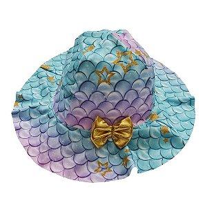 Chapéu Infantil Feminino UV Protection Beachwear Pequena Sereia - Grow UP