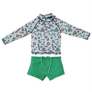 Conjunto Infantil Masculino UV Protection Beachwear Navy Marinho - Grow UP