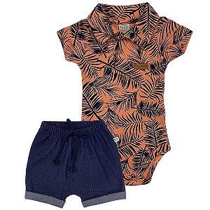 Conjunto Body Tropical e Shorts - Pingo Lelê