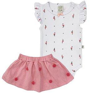 Conjunto Body e Saia com Pompom Flamingo - Pingo Lelê