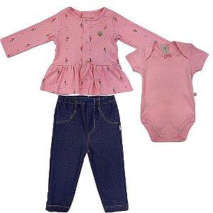 Conjunto Casaco Body e Calça Flamingos - Pingo Lelê