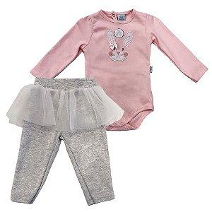 Conjunto Infantil Suedine Body e Calça Coelhinha Bailarina - Piu Piu
