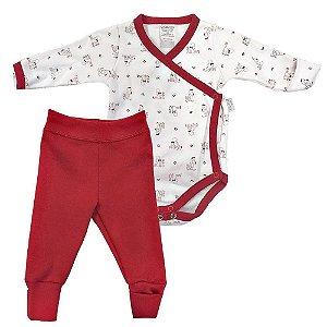 Conjunto Infantil Suedine Body e Calça Abertura Lateral - Piu Piu