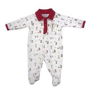 Macacão Infantil Menino Gola Polo Vermelho - Piu Piu