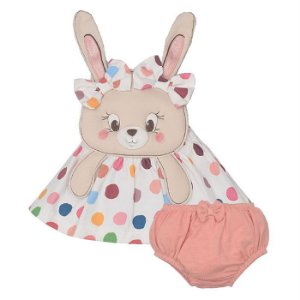 Vestido Infantil Feminino com Calcinha Coelha Sonia - Upi Uli